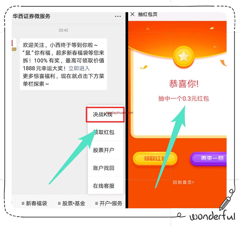 wx关注华西微证券玩游戏红包亲测0.3元!  第1张